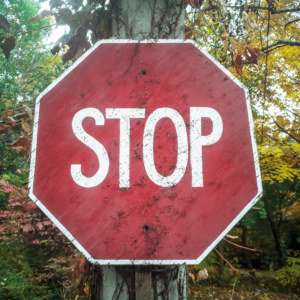 A handmade stop sign in Wychwood Park