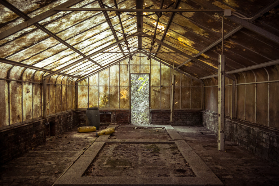 The abandoned greenhouse at Bishop's Lodge, Hong Kong