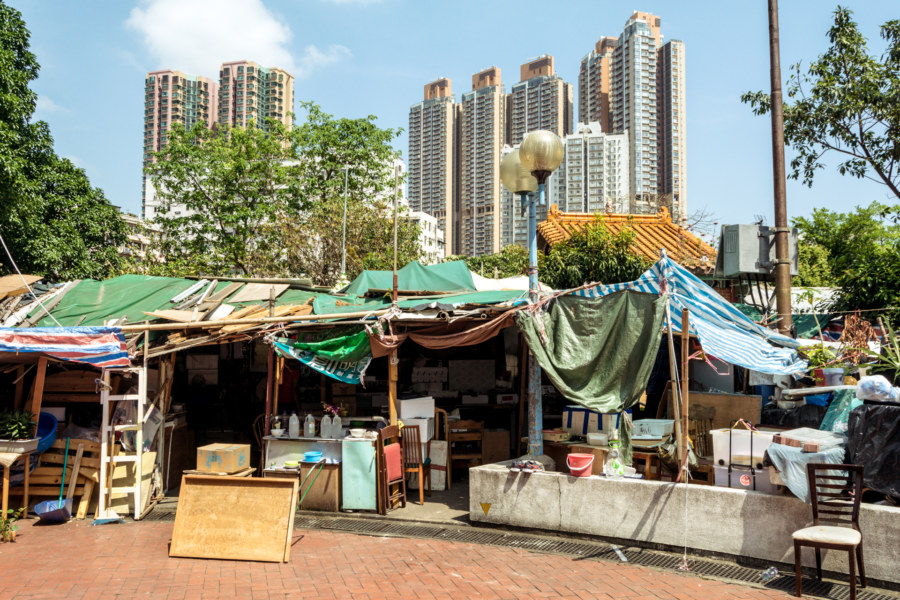 A tent village in the midst of modern Kowloon