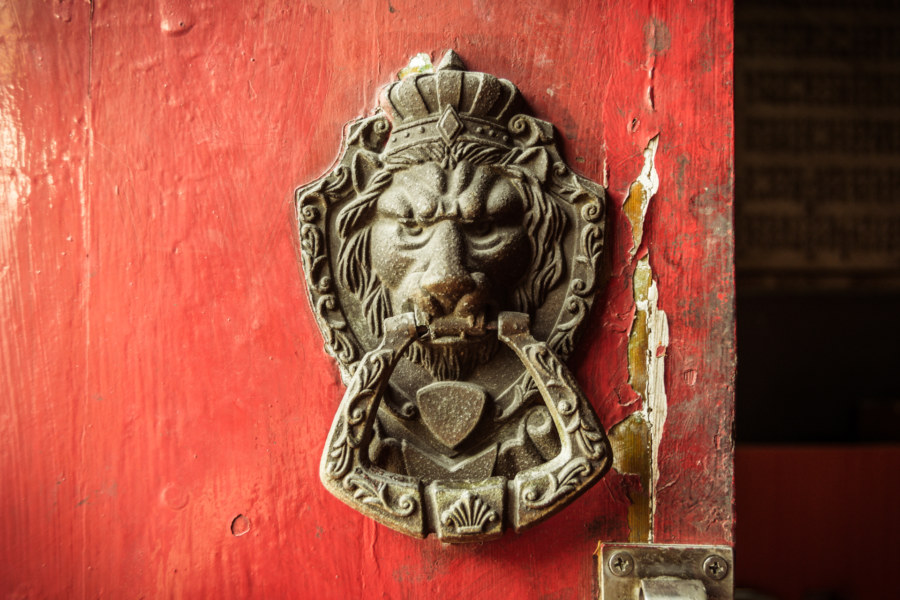 Regal lion door knocker in Nga Tsin Wai Village 衙前圍村