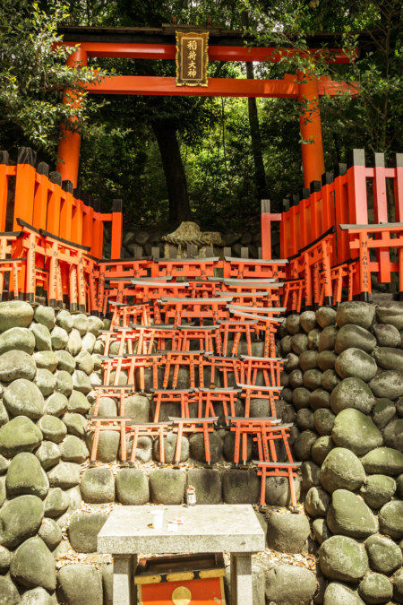 Write your wish on a tiny torii at Fushimi Inari Taisha