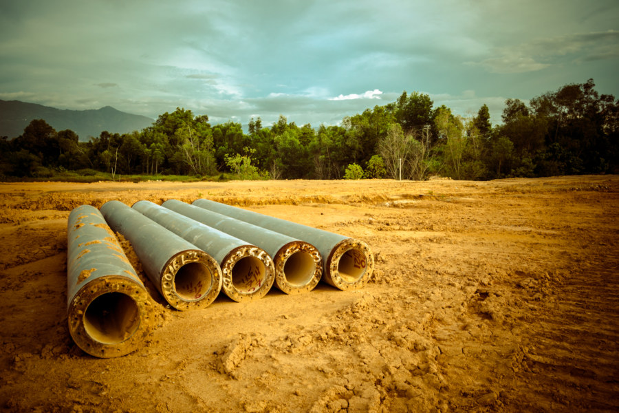 Pipes on the ground