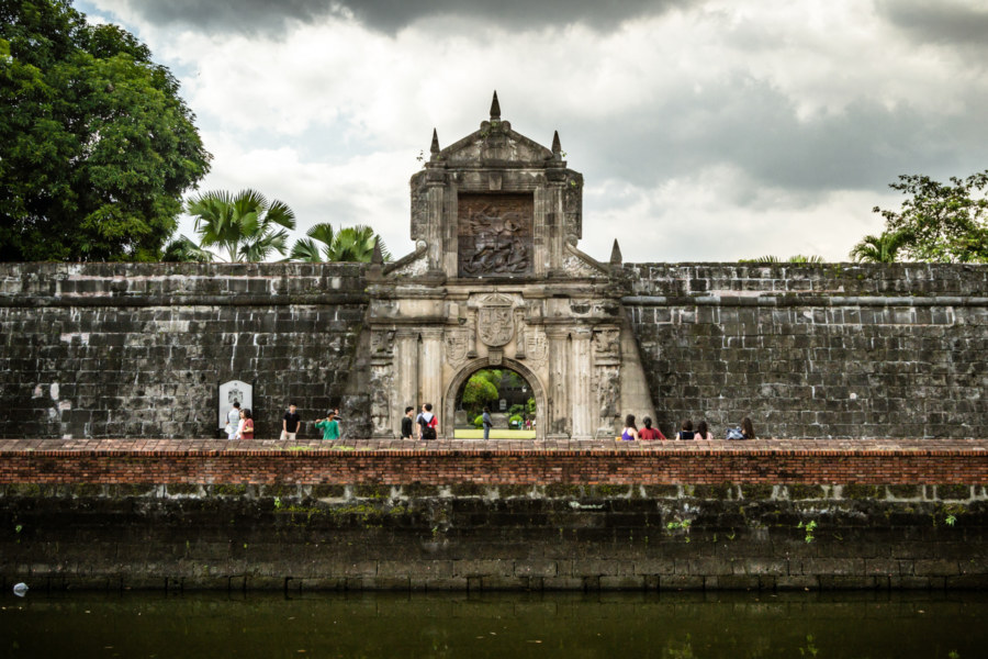 Crossing the moat into Fort Santiago