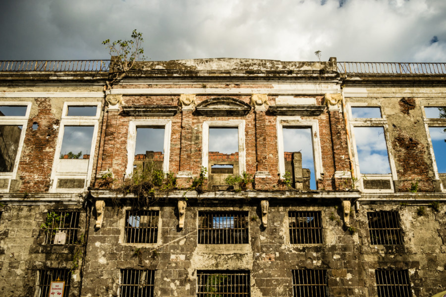 A Spanish colonial building on the edge of Intramuros
