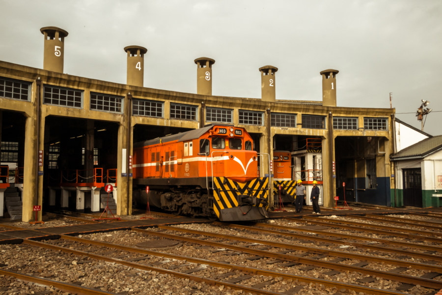 An engine backs into the Changhua Roundhouse