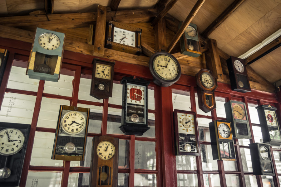 Vintage clocks at Hexing Station