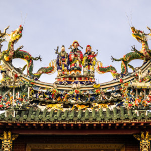 The rooftop at Qinghe Temple 清和宮 in Alian