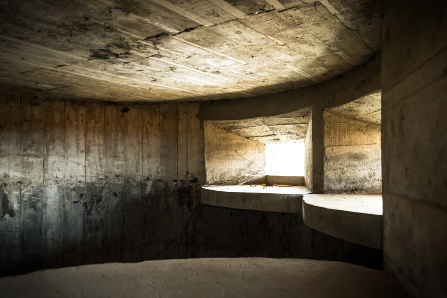 Inside the abandoned gun tower