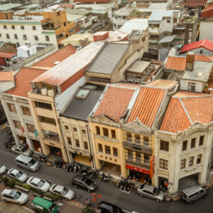 Dihua Street from the rooftop of the fabric market