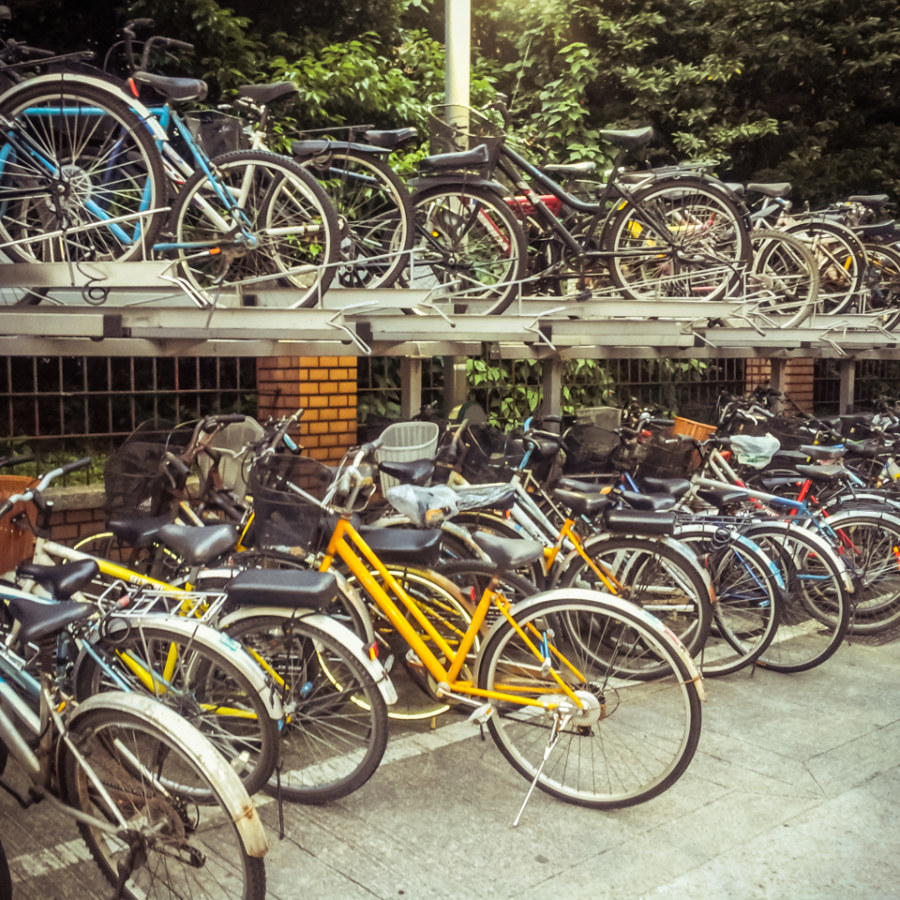 Bicycle racks outside Gongguan MRT