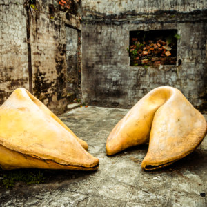 Giant fortune cookies on Treasure Hill