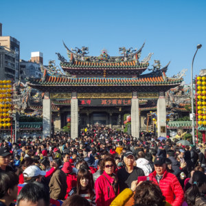 Lunar new year's day at Longshan Temple