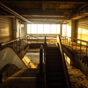 An abandoned department store in the golden light