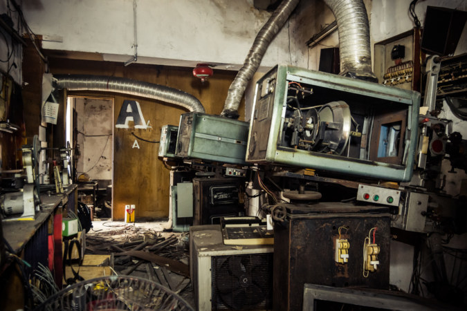 Inside a projection room at Dadong Theater