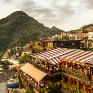 The teahouses of Jiufen at sunset