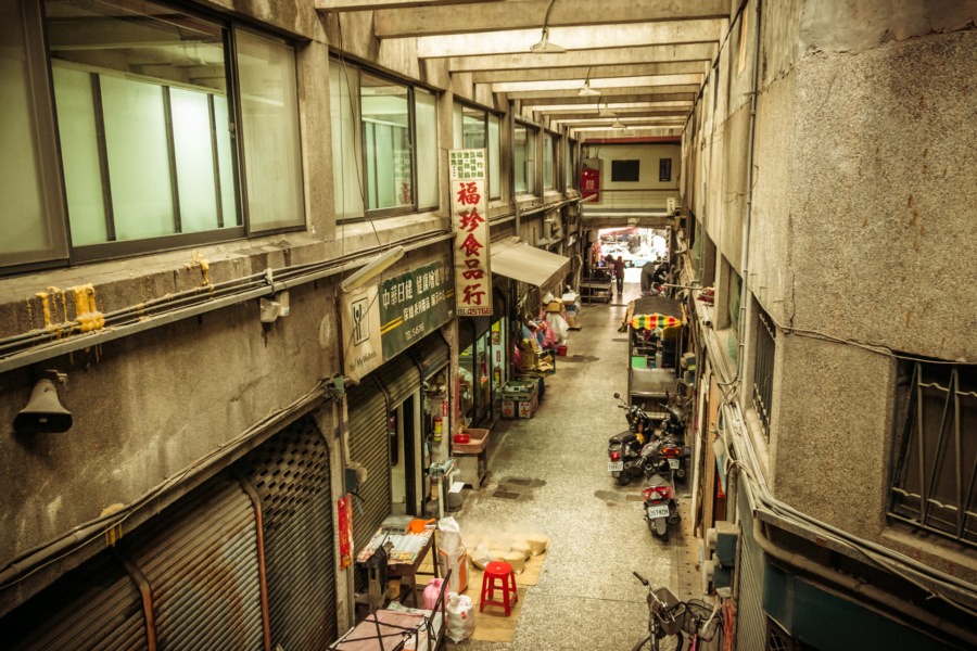 Inside an old market in Luodong