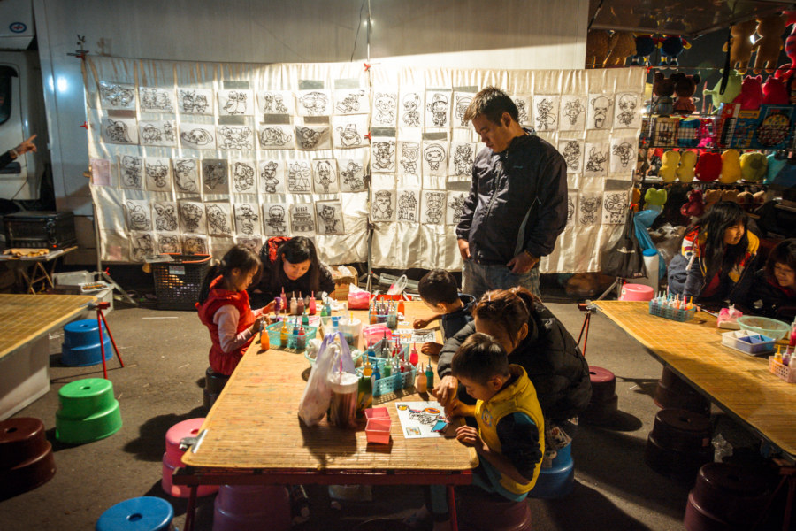 A children's art space at the night market in Douliu