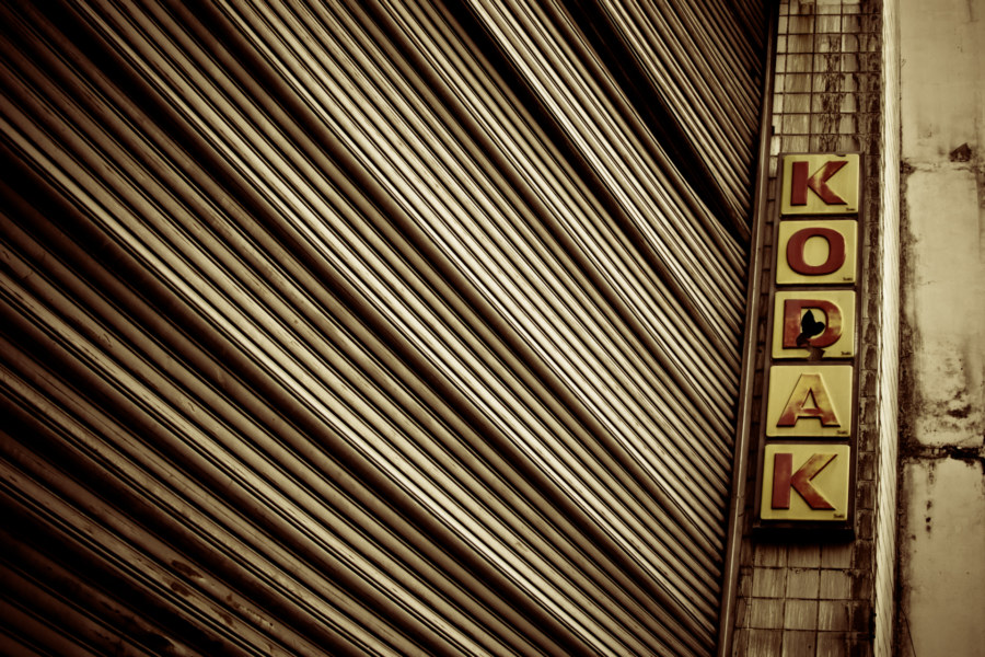 Kodak sign on a derelict mall in Bangkok