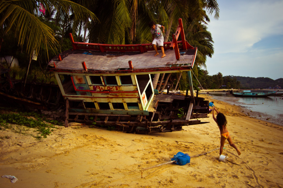 Russian kids playing on a Koh Phangan wreck