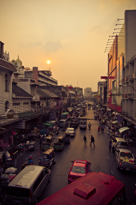 Bangkok city sunset