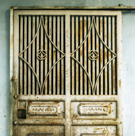 One of countless metal doors in Hanoi