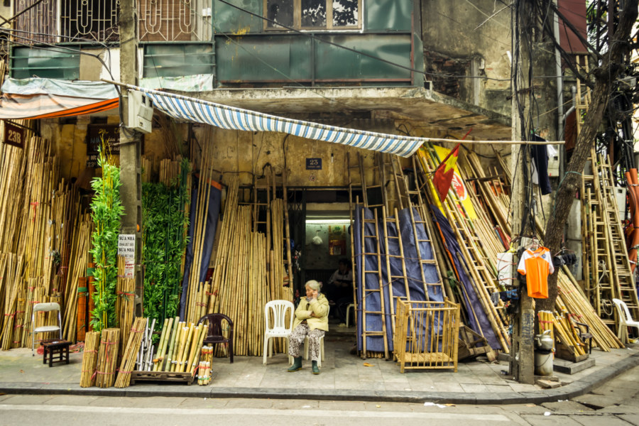 Bamboo vendor in the Old Quarter of Hanoi