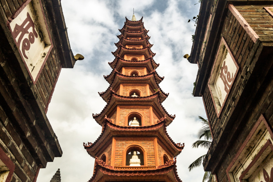 Pagoda at the oldest Buddhist temple in Hanoi