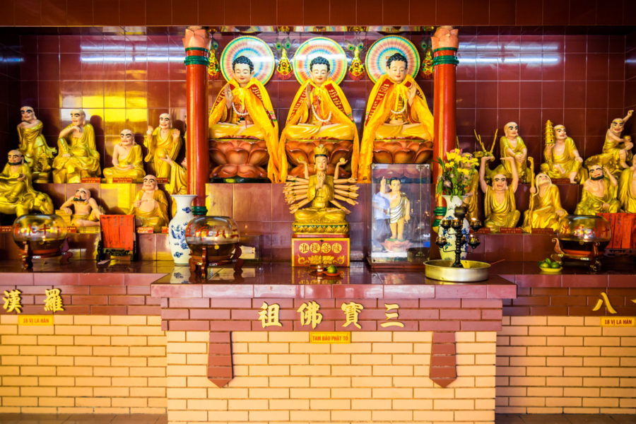 Three Treasures Shrine at Quan Am Pagoda