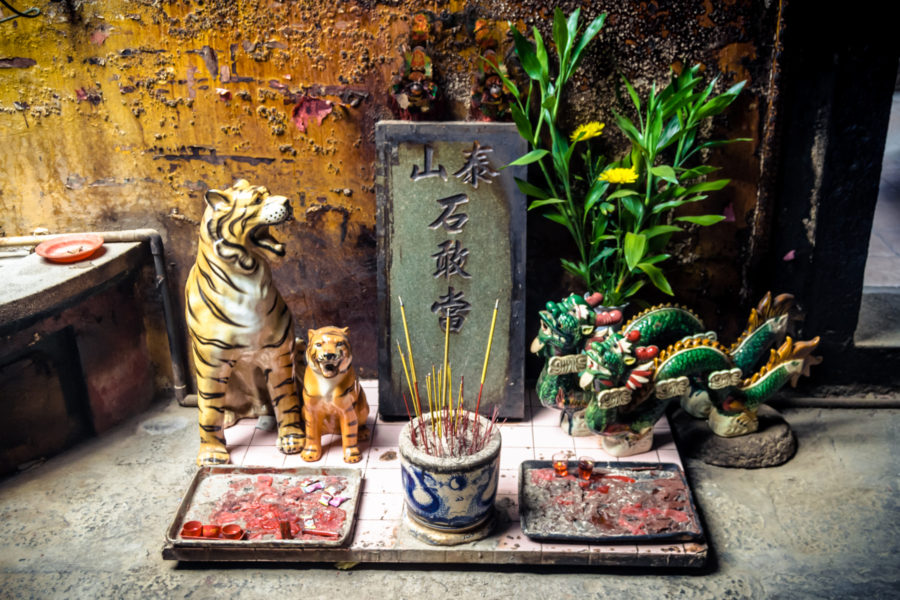 Tiger and Pixiu Shrine at Ha Chuong Hoi Quan Pagoda